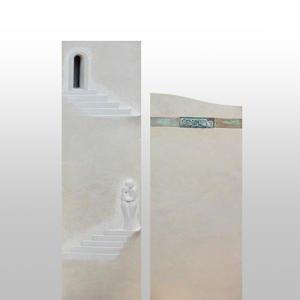 Addio Besonderer Urnengrabstein Zweiteilig Stein Treppe