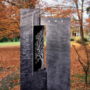 Besonderes Grabmal Granit dunkel mit Baum kaufen - Einzelgrab