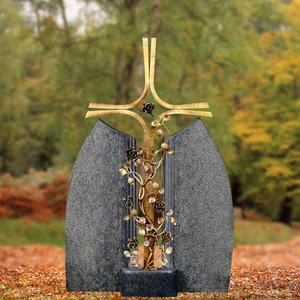 Ephraim Rosa Bronze Grabkreuz mit Rosenranke Doppelgrabstein Granit