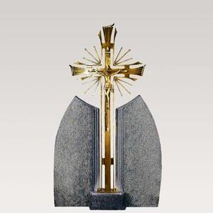 Ephraim Lucca Bronze Grabkreuz mit Urnengrabstein Granit