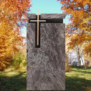 Parrot Design Familiengrabmal mit Bronze Kreuz - Granit Orion