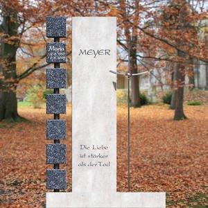 Monasterio Designergrabstein mit Wã¼rfeln & Kreuz