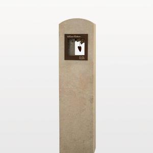 Amoris Doppelgrab Grabstein in Kalkstein & Bronze mit Deko-fenster/ Stelenform
