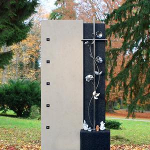 Enola Doppelgrab Grabstein Naturstein mit Rosen & Kreuz Design