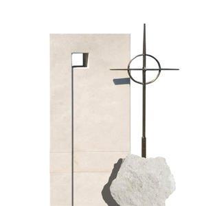 Monasterio Doppelgrabmal Naturstein Modern Kugel & Kreuz