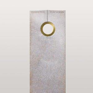 Raphael Oculare Doppelgrabstein aus Granit Aurora mit Bronze Ring Ornament
