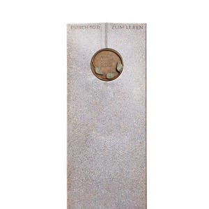 Raphael Vivere Doppelgrabstein aus Granit Aurora mit Floraler Bronze Schrifttafel
