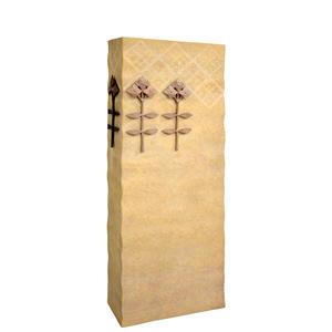 Lirio Doppelgrabstein aus Kalkstein mit Blumendekor aus Bronze