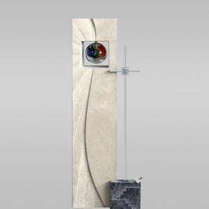 Aurigatis Doppelgrabstein Glas & Metall mit Sonnen Kugel