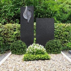 Cielo Angelo Doppelgrabstein Granit Schwarz Romantisch mit Flã¼gel