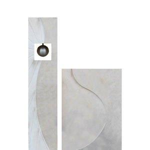 Corona Doppelgrabstein Kalkstein Modern mit Edelstahl Deko