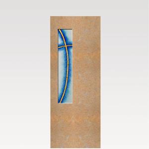 Albona Crucis Doppelgrabstein mit Glaseinsatz Kreuz-motiv in Kalkstein