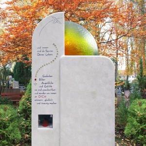 Lucida Doppelgrabstein mit Grablicht & Regenbogen Glas