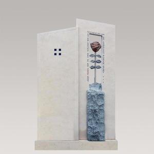 Bienno Doppelgrabstein mit Rosen Grabsteinkunst