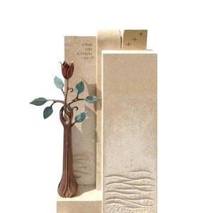 Poesia Doppelgrabstein Modern Bronze mit Blume Kaufen