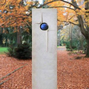 Azur Doppelgrabstein modern mit blauer Kugel