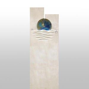 Chesina Doppelgrabstein Modern Wetterfest Glaseinsatz