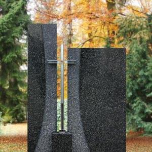 Solem Doppelgrabstein Zweiteilig Granit mit Kreuz