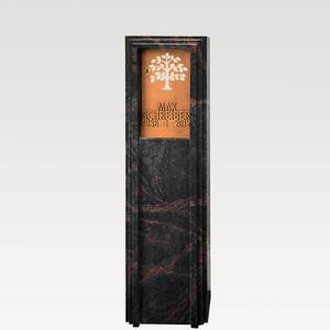 Lucus Nigra Dunkle Granit Grabstele für Ein Doppelgrab mit Lebensbaum Ornament aus Bronze