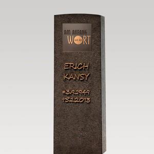 Memoria Nigra Dunkler Granit Doppelgrab Grabstein mit Bronze Tafel