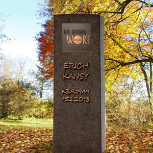 Memoria Nigra Dunkler Granit Einzelgrab Grabstein mit Bronze Tafel