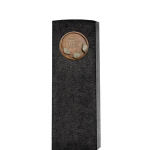 Lapis Aeneus Dunkler Granit Grabstein mit Bronze Ornament / Floral - Einzelgrab