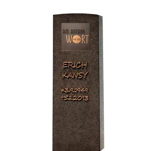 Memoria Nigra Dunkler Granit Urnengrab Grabstein mit Bronze Tafel