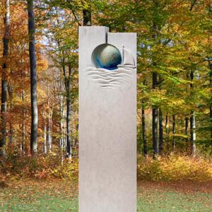 Terreno Edle Urnengrab Stele preiswert mit Glaselement