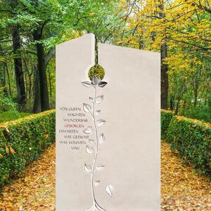 Fiola Einzelgrab Grabmal Naturstein mit Baum Plastik