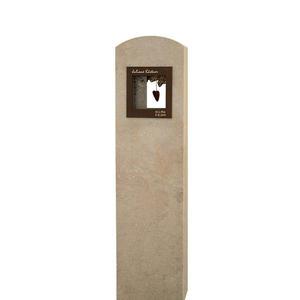 Amoris Einzelgrab Grabstein in Kalkstein & Bronze mit Deko-fenster/ Stelenform