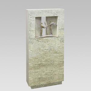 Spiritus Signum Einzelgrab Grabstein mit Bronze Engel Figuren