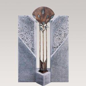 Alassio Flora Einzelgrab Grabstein mit Floralem Bronze Element