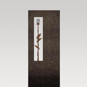 Albona Rosa Einzelgrab Grabstein mit Rose aus Bronze aus Granit