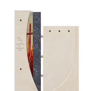 Facella Einzelgrab Grabstein modern mit buntem Glas Sternen & Kreuz - Facella