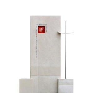 Montero Einzelgrab Stein mit Kreuz & Rose aus Glas