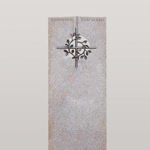 Raphael Deus Einzelgrab Urnengrab Grabstein Granit mit Bronze Kreuzornament