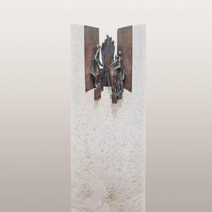 Rosello Bianco Einzelgrabmal Kalkstein mit Bronze Ornament Treppe & Figuren