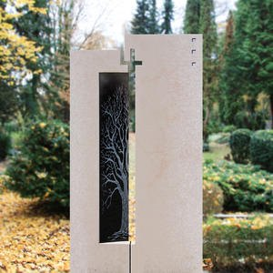 Bovino Einzelgrabmal Naturstein und Glas mit Baum Design