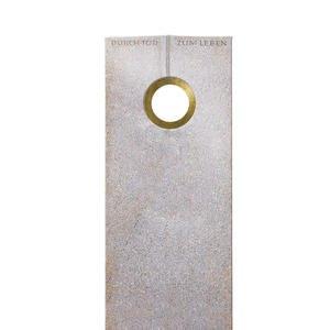 Raphael Oculare Einzelgrabstein aus Granit Aurora mit Bronze Ring Ornament