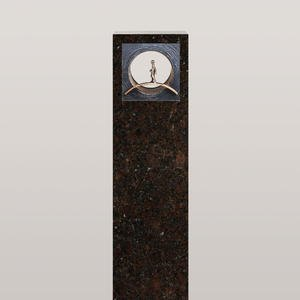 Anzio Nero Einzelgrabstein Granit Coffee Brown mit Bronze