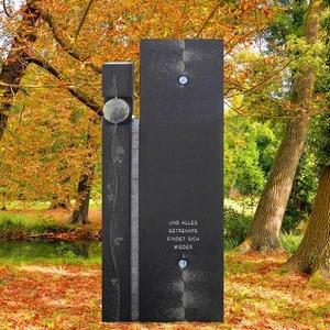 Einzelgrabstein Granit Schwarz mit Glas & Blumen