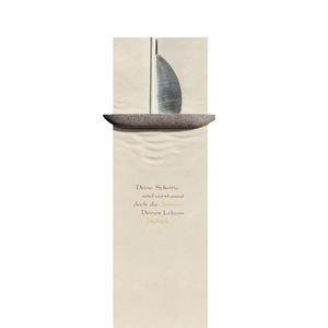 Briona Einzelgrabstein Granit & Edelstahl Boot