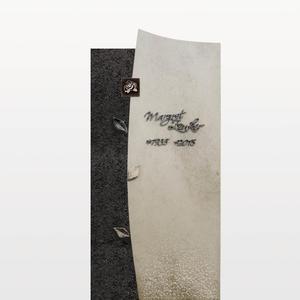 Forio Nigrum Einzelgrabstein in Hell/dunkel mit Rose & Blatt Ornamenten (granit & Kalkstein)