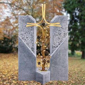 Alassio Cruzis Einzelgrabstein mit Bronze Grabkreuz & Rosenranken
