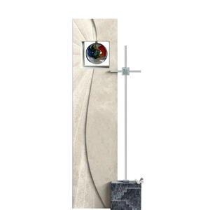 Aurigatis Einzelgrabstein mit Metall Kreuz & Glas Sonne