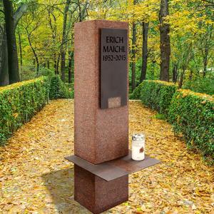 Sensum Einzelgrabstein - Stele in Rotem Granit Ruby Red mit Bronzetafel