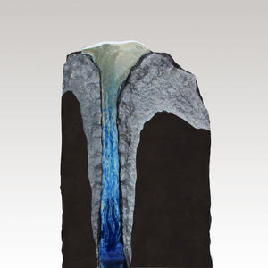 Aqua Exklusiver Granit Doppelgrabstein mit blauem Glas