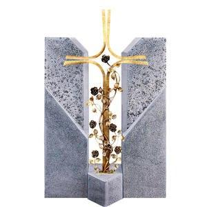 Alassio Cruzis Familiengrabstein mit Bronze Grabkreuz & Rosenranken