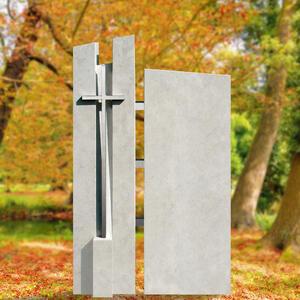 Artema Familiengrabstein Modern mit Edelstahl Kreuz