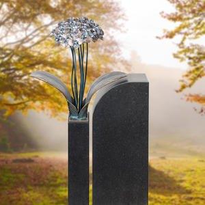 Tivoli Uno Floraler Bronze / Granit Grabstein für Ein Einzelgrab mit Blume